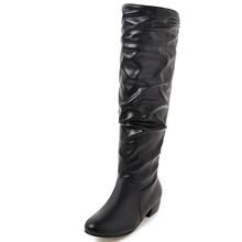 BONJOMARISA büyük boy 34-43 yeni moda bayan düşük tıknaz topuklu çizmeler üzerinde kayma pilili orta buzağı çizmeler kadın rahat parti ayakkabıları kadın(China)
