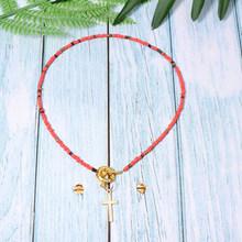 MOON GIRL Design Cross Choker Colorful Beads Necklace for Women Fashion Trendy Bohemian Chic Bib Collier Femme Dropshiping(China)