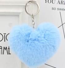 10 CENTÍMETROS Bonito Fluffy Pompons Faux Rex Rabbit Fur das Mulheres Do Coração Chaveiros Chaveiros Saco Menina Pendurar Carro acessórios Da Jóia do Anel chave(China)