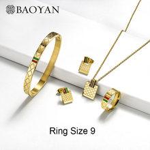 Baoyan Berühmte Marke Schmuck Großhandel Edelstahl Schmuck Set Ring Halskette Armband Ohrringe Hochzeit Schmuck Sets Für Frauen(China)