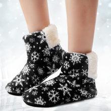 Yarım çizmeler Kadınlar için Kürk Slaytlar Kış Kar Ev Ayakkabı Kar Tanesi Sıcak Kürk Astarı ev ayakkabıları Zemin Ayakkabı Botas Mujer(China)