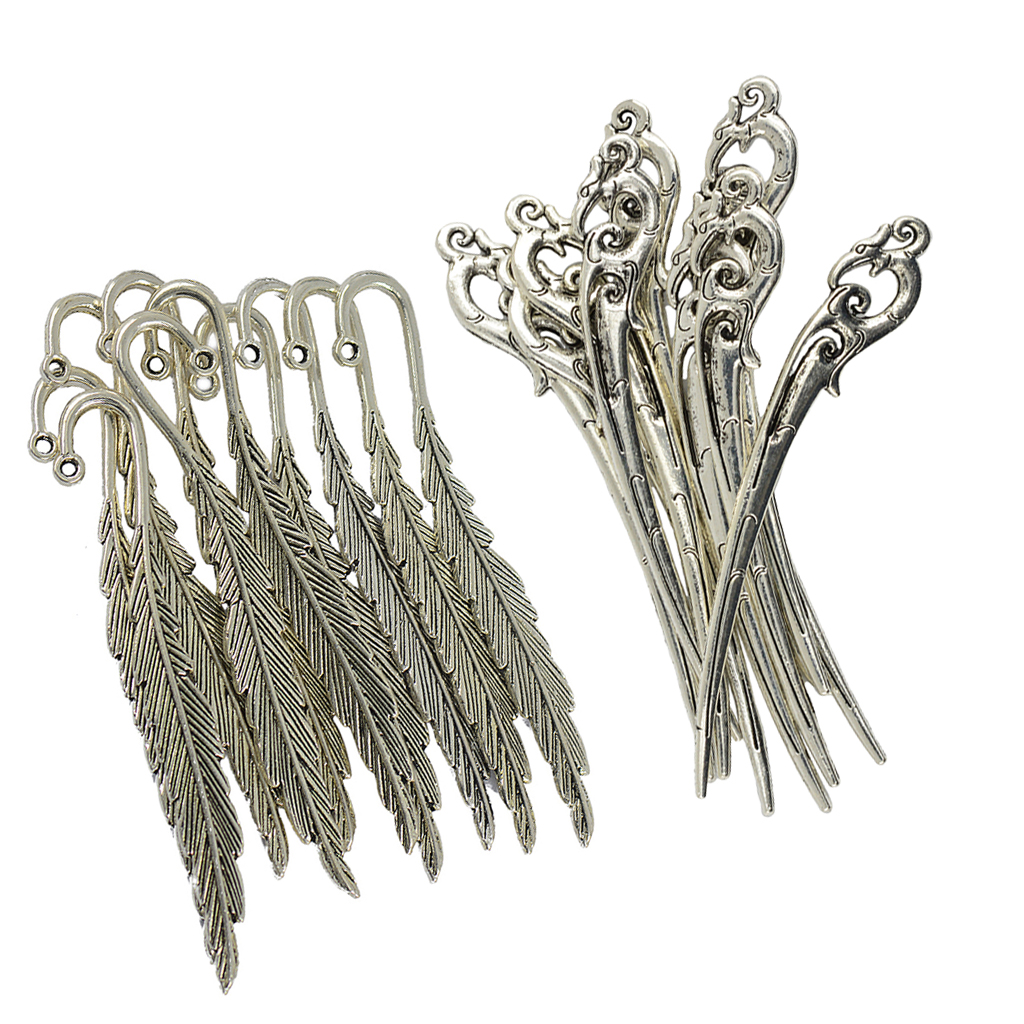 Wholesale Retro 5Pcs Tibetan Silver Charms Curved Bookmark Beads Crafts Findings