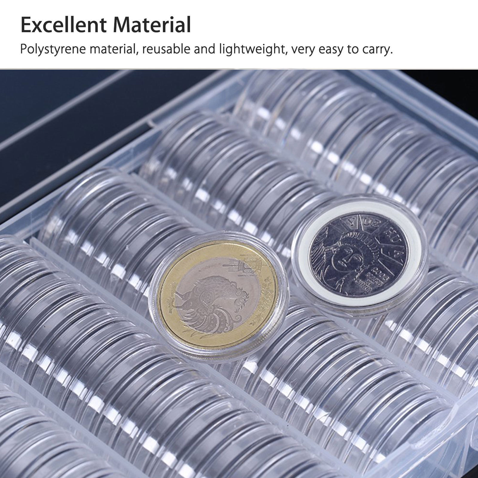 Honbay 100PCS 30mm Clear Round Plastic Coin Capsules Coin Holder Case with a Storage Box for Coin Collection Supplies