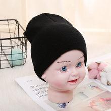 ฤดูใบไม้ร่วงฤดูหนาวเด็กชายหญิงถักหมวกลูกอมสีทึบหมวกปรับ Casual (China)