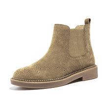 BeauToday Chelsea Çizmeler Kadın Domuz Süet Deri Wingtip Brogues Elastik Bant yarım çizmeler Deve Renk Bayan Ayakkabı El Yapımı 0401625(China)
