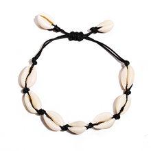 Bohemia Shell Perhiasan Set untuk Wanita Buatan Tangan Tali Rantai 2PC Kalung Gelang Jwellery Set BoHo Musim Panas Pantai Aksesoris(China)
