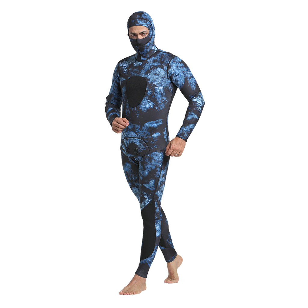 Camouflage Spearfishing Wetsuits Men's Super Stretch Neoprene Jump Scuba Diving Surfing Suit Hooded Hood 3mm 2 Pcs