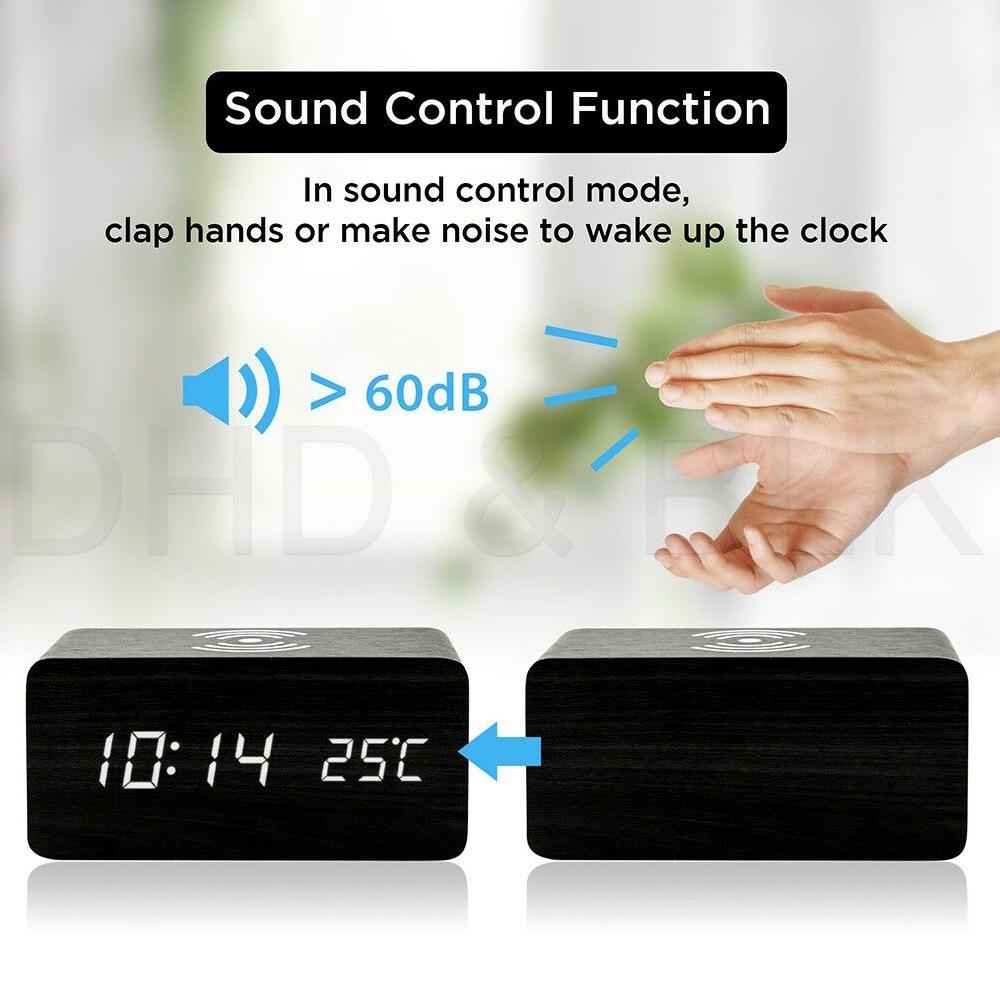 Alarm Clock Large Digital LED Display Portable Modern Battery Operated  MMH