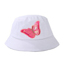 الطفل القبعات الإبداعية التطريز قبعة بحافة للجنسين لطيف اللون فراشة ملصقات القماش قبعة الهيب هوب الرجال النساء قبعة دلو صيد قبعة(China)