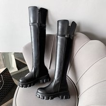EGONERY winter neue mode über knie stiefel außerhalb high heels plattform runde kappe zip schnalle frauen schuhe drop verschiffen größe 32-45(China)