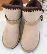 EIOUPI sıcak kış kar botları gerçek koyun kürk koyun derisi deri kadın rahat moda iplik dikiş ayak bileği düz çizme OYM5406(China)