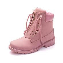 Fujin Nieuwe Roze Vrouwen Laarzen Herfst Lace up Solid Casual Enkellaarsjes Ronde Neus Zip Kant upWomen Schoenen Winter Laarzen platform(China)