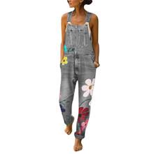 Осенние женские, повседневные, свободные комбинезоны больших размеров, женский элегантный джинсовый комбинезон с принтом, длинные брюки, к...(China)