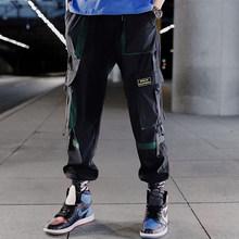 Hip Hop Ruy Băng Hàng Quần Áo Quần Jogger Quần Dạo Phố Nam 2020 Thời Trang Nam Lưng Thun Quần Ruy Băng Cotton Đen W117(China)