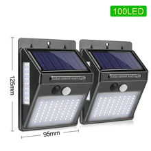 100 LED שמש אור שמש גן מנורת PIR חיישן תנועת שמש מופעל על ידי אור שמש עמיד למים עבור חיצוני קיר רחוב קישוט(China)
