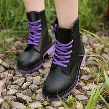 Thời Trang Nữ, Mẫu Giày Chống Nước Người Phụ Nữ Bùn Giày Cao Su Phối Ren Nhựa PVC Mắt Cá Chân Giày May Giày Đi Mưa Plus kích Thước 44(China)