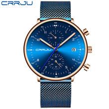 Hombre reloj crrju de lujo de marca de los hombres de acero inoxidable reloj de pulsera para hombres es impermeable militar fecha relojes de cuarzo reloj masculino(China)
