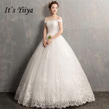זה YiiYa חתונה שמלות 2019 פשוט סירת צוואר רקמת תחרה עד לקיר-אורך אלגנטי כלה שמלות דה Novia casamento AL012(China)