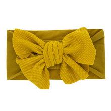 Nieuwe Peuter Baby Meisjes Solid Bow Tulband Hoofdband Kids Jongen Meisje Casual Haaraccessoires Baby Baby Mode Haarband Voor 0-3years(China)