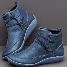 Botas de tobillo para mujer botas de nieve zapatos planos de cuero genuino Vintage otoño botas de punta redonda de mujer con cordones Bota femenina 2019(China)