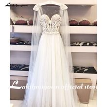 Скромные пляжные свадебные платья больших размеров 2020 трапециевидные винтажные Свадебные платья из тюля с жемчужинами в богемном стиле вы...(China)