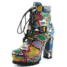 Doratasia 2020 Dropship marka renkli yılan derisi çizmeler platformu kadın ayakkabı yarım çizmeler moda yüksek topuklu kadın ayakkabı(China)