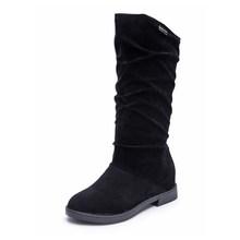 2019 frauen Wildleder Mitte Wade Stiefel Kurze Plüsch Höhe Zunehmende Schuhe Damen Komfort Casual Slip Auf frauen Winter Mode weibliche(China)