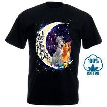 Lady & the tramp eu amo você para a lua e voltar t camisa de algodão preto 4xl masculino(China)