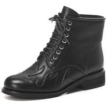 Doratasia 2020 Retro echt leer Paard huid mode Vrouw Schoenen leren schoenen laarzen mode Vrouwen enkellaarsjes vrouwelijke(China)