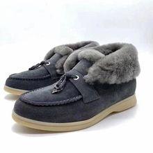 Lông Tự Nhiên Ủng Tua Rua Tôn Tạo Truned Trên Len Mắt Cá Chân Giày Mùa Đông Thật Da Lộn Giày Da Nữ Plus Kích Thước giày(China)