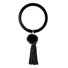 Pulseira de corrente de chave círculo bonito da pele do falso bola borla wristlet chaveiro feminino presente menina pulseira de pulso chaveiro(China)