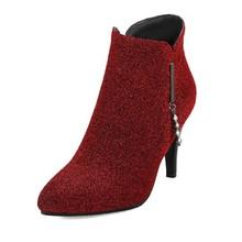 Orcha Lisa Người Phụ Nữ Mùa Đông Cổ Chân Giày Mũi Nhọn 9 Cm Mỏng Giày Cao Gót Khóa Kéo Kim Cương Giả Size Lớn 32-43 đỏ Thường Ngày Cưới C1791(China)