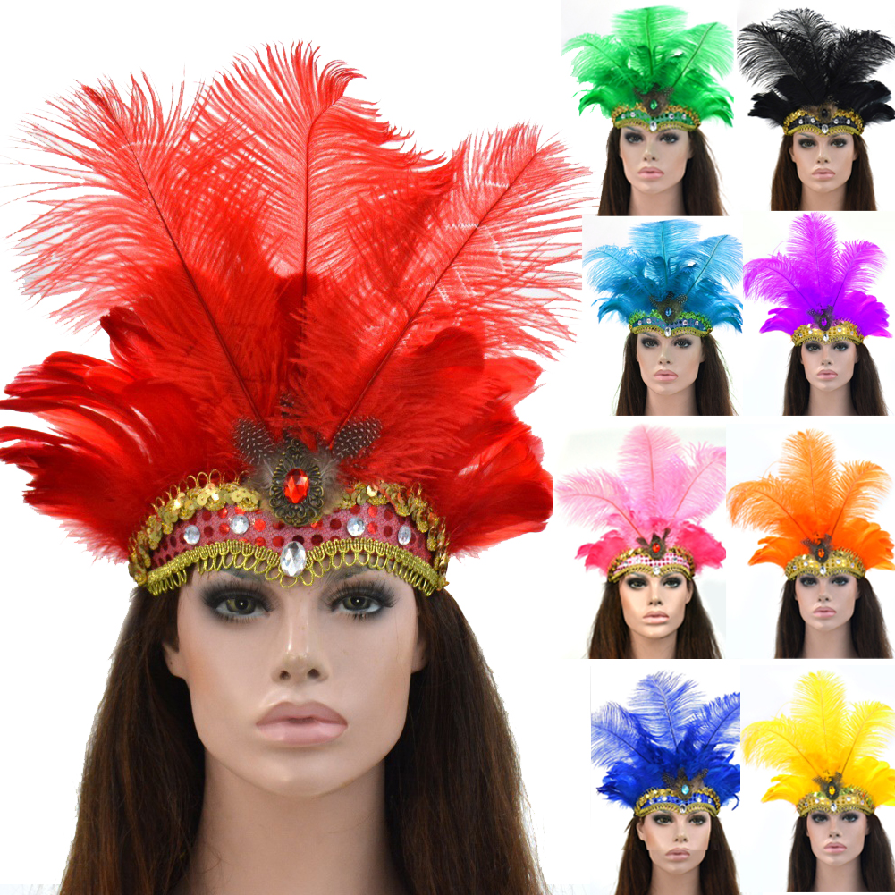 Black//Red Feathers Carnival Headdress