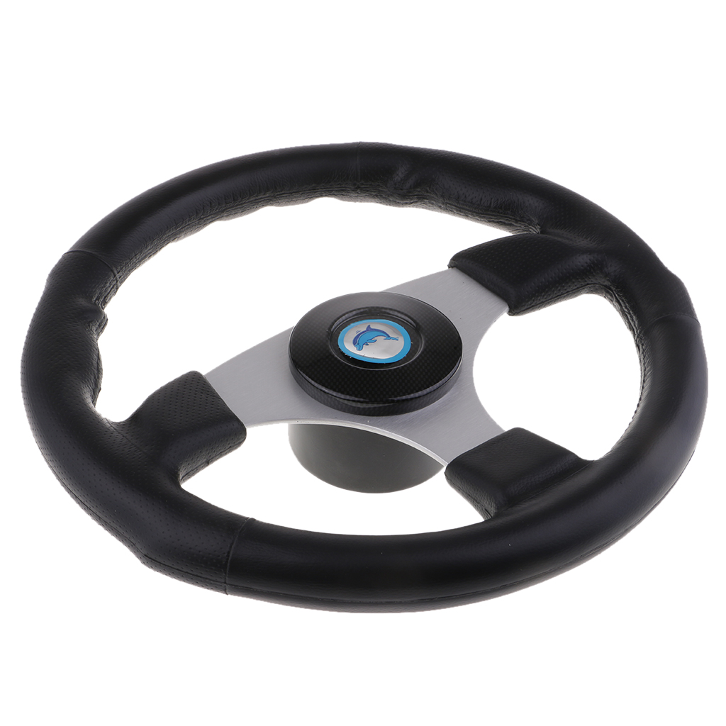 "13.5/"" Steering Wheel Polyurethane Leather Grip Alloy For Boat Marine Available"