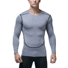 Gym Shirt Athletic Droge Fit Mannen Workout T Compressie Tops Running Shirt Lange Mouwen Fitness Bodybuilding Quick Dry Tight(China)