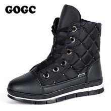Gogc Ấm Mắt Cá Chân Giày Cho Nữ Mùa Đông Cao Da Bò Nữ Chống Thấm Nước Giày Cho Nữ Mùa Đông Giày Nữ Giày Boot đen G9804(China)