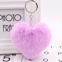 10 cm bonito fofo coração chaveiros simulação de pele de coelho das mulheres chaveiros menina saco pendurar carro chaveiro jóias acessórios(China)