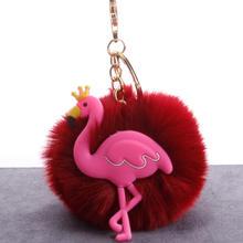 Novo Animal Ave 19 Cores Doces Cor Fluffy Coelho Keychain Das Mulheres da Carteira Bolsa Pingente Carro Decoração fofo chaveiro porte clef(China)