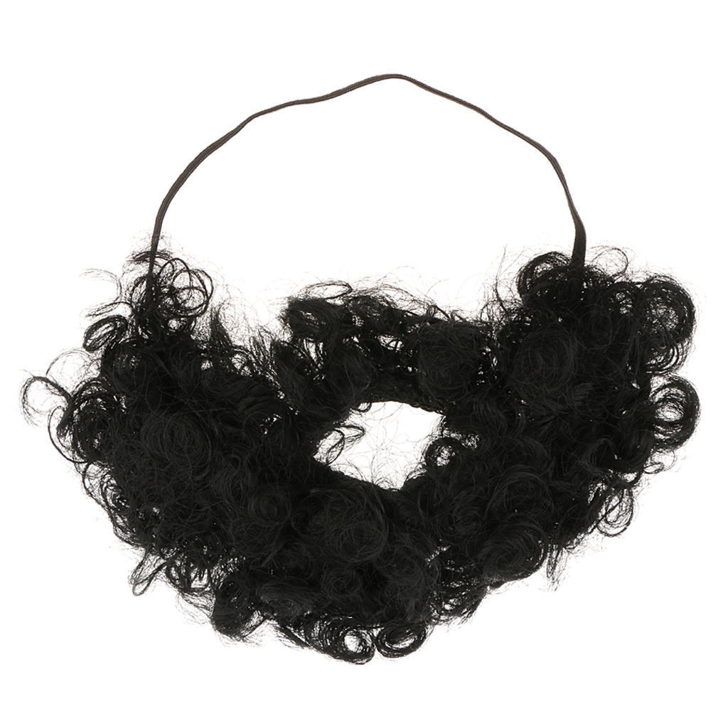 Mens Cosplay Fancy Dress Prop Funny 70s Disco Afro Beard Fake Mustache Macho stage show props Clown bread
