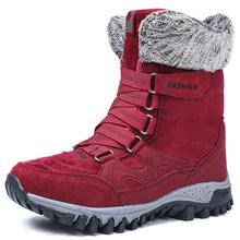 Stiefel Winter Schuhe Frauen Warme Pelz Schnee Stiefel Frauen Baumwolle Schuhe Weiblichen High Top Stiefeletten Tragen Beständig Slip Bota feminina(China)