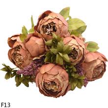 1 باقة وردة صناعية زهور الحرير الفاوانيا وردة زهرة 6Big Head 2Bud ورد صناعي لتقوم بها بنفسك المنزل فندق الزفاف الديكور إكليل(China)
