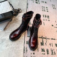 Prova Perfetto 2020 Kadın Botları Sonbahar Kış Peluş Martin Çizmeler Ayakkabı Yüksek Topuk Zip Yuvarlak Ayak Yeni Patent Deri Orta buzağı Çizmeler(China)