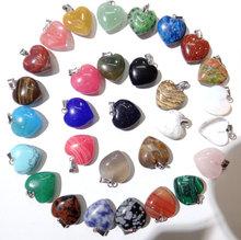 טבעי אבן טורקיז קוורץ קריסטל עין נמר אופל לפיס לב תליוני diy תכשיטי ביצוע שרשראות Accessories24PCS A2(China)