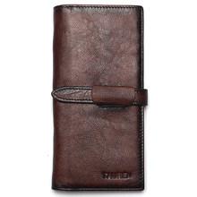 RFID Блокировка Dip Dye 100% натуральная кожа Ретро Винтаж сплошной цвет мужской длинный кошелек портмоне винтажный дизайнер мужские кошельки(China)