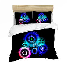Bedding set Bedclothes Include Duvet Cover Pillowcase Print Home Textile Bed Linens Clock Fashion King Size Fantasy Comforter(China)