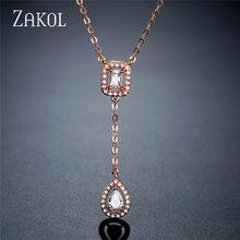 ZAKOLSimple כיכר זרוק בצורת zirconia תליון קסם שרשרת תכשיטים חתונה לכלה מתנה לחברה FSNP2068(China)