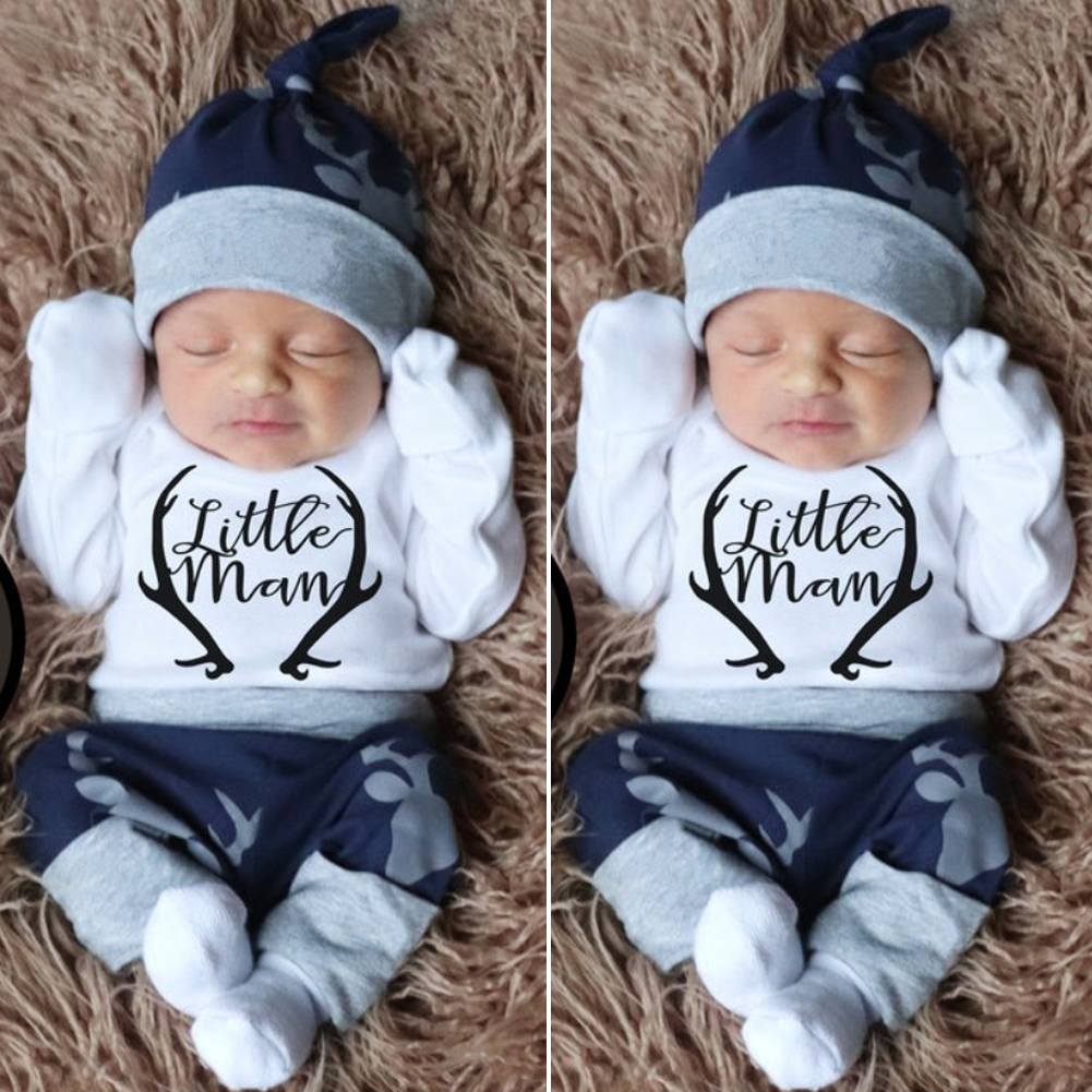 newborn boy outfit baby harem pants and baby boy hat Deer Baby Outfit