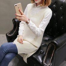 Losse V-hals trui, vest en vest, mid-lange Trui breien voor vrouwen in de herfst en winter van 2019(China)