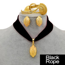 Anniyo DIY Seil Äthiopischen Schmuck set Halsketten Armband Ohrringe Ring Gold Farbe Eritrea Habesha Hochzeit Schmuck Sets #218206(China)