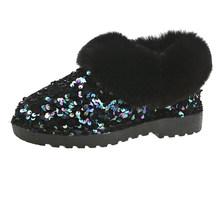 Frauen Winter Warme Stiefel Gleitschutz Sohle Lady Schnee Stiefel Glänzende Marke Mode Stil Einfach Tragen Haarigen Stiefeletten Plus(China)